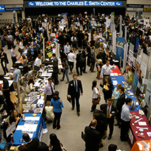 GW students and alumni meet with employers at the Career and Internship Fair.