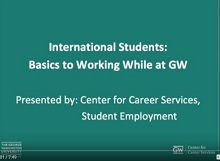International Student Employment at GW Video