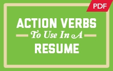 Button displaying Action Verbs to use in a Resume