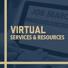 promotional image regarding virtual programs and services at the Center for Career Services