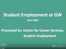 GW Student Employment for Non-Federal Work Study Students